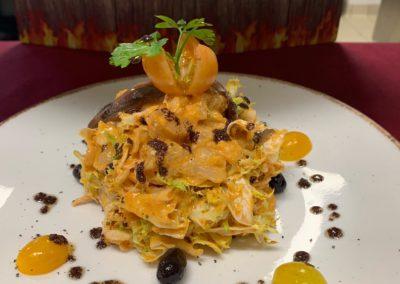 escarola amb con romesco y anchoa en Salou Tarragona